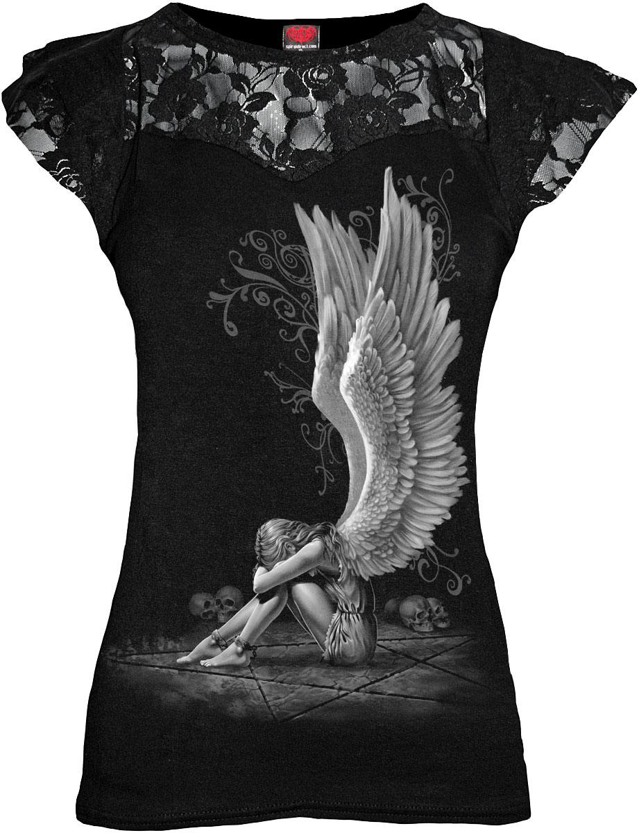 SPIRAL Enslaved Angel Lace Layered Cap Sleeve Top Black D024F721