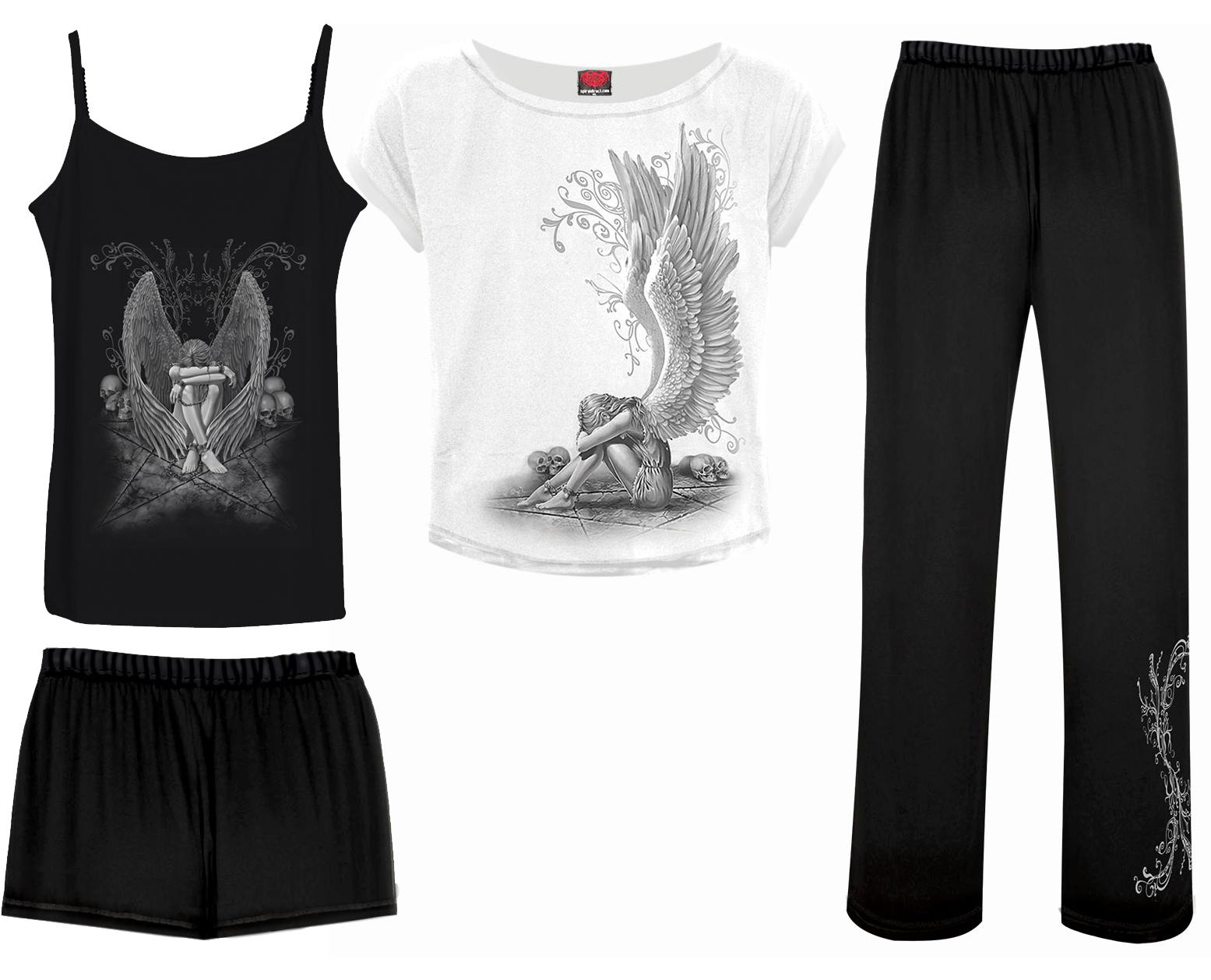 SPIRAL Enslaved Angel 4teilig Gothic Pyjama Set D024G601