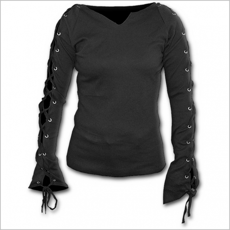SPIRAL Gothic Elegance Laceup Sleeve Top Black P001F412