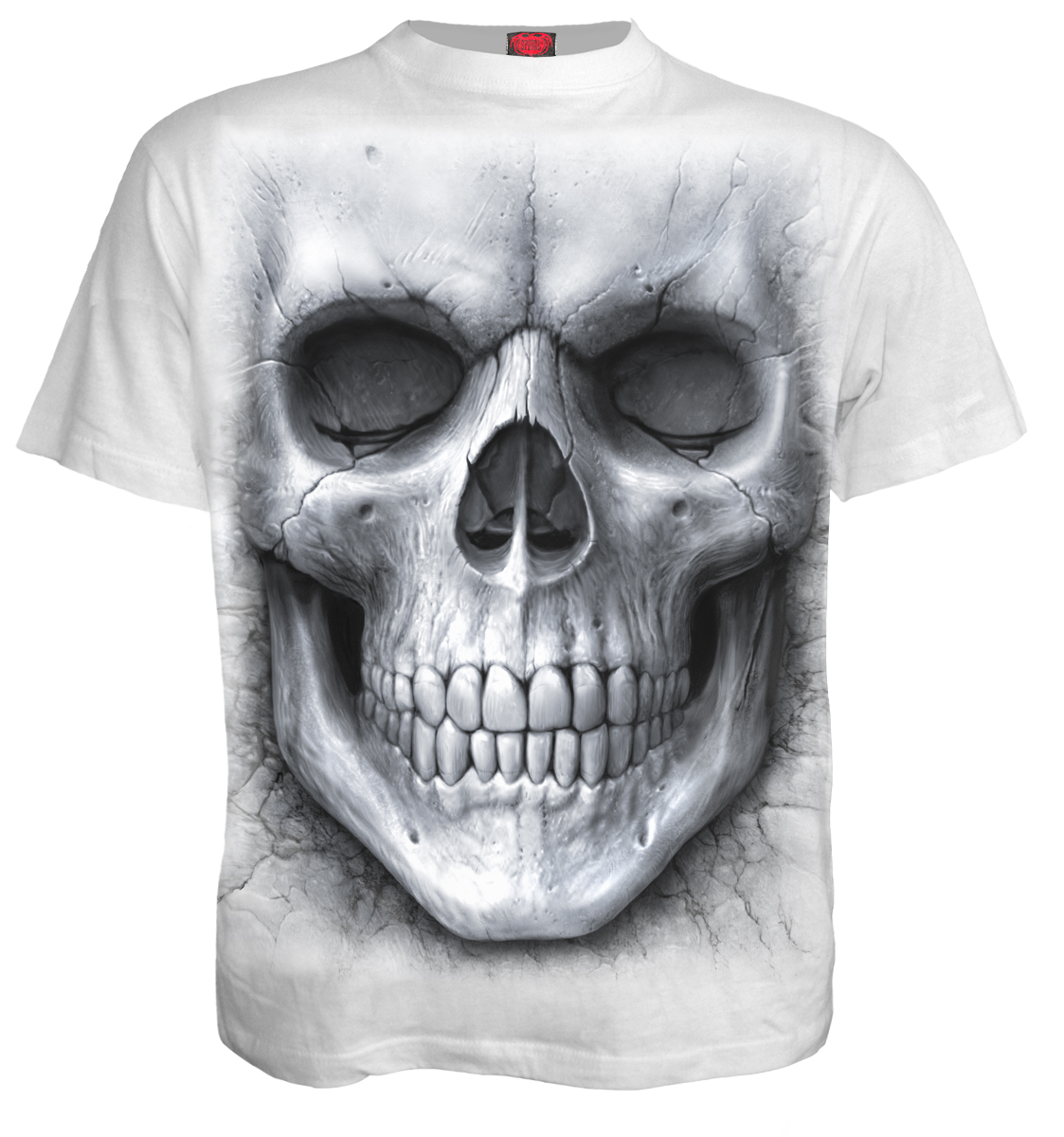 SPIRAL Solemn Skull T-Shirt White S012M113