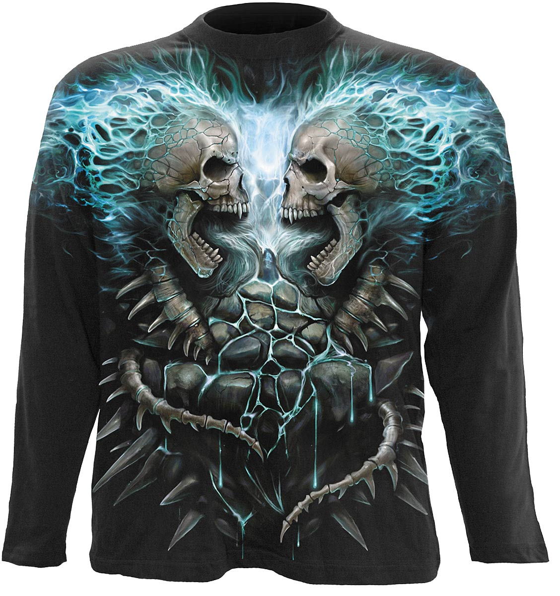 SPIRAL Flaming Spine Allover Longsleeve T-Shirt Black W016M304