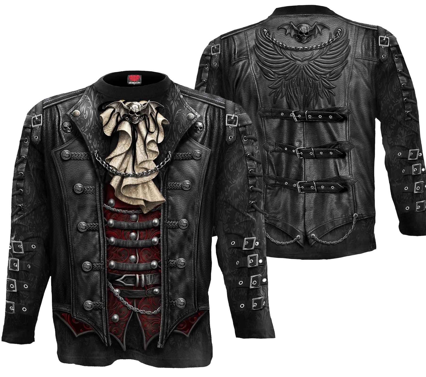 SPIRAL Goth Wrap Langarm Shirt Rundumdruck  W025M304